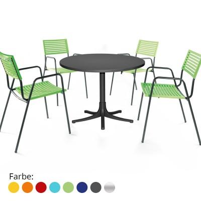 Gartenset Arbon-Lamello Tisch & 4 Stühle mit Armlehne