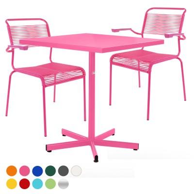 Balkonset Basic-Säntis Tisch & 2 Stühle mit Armlehne